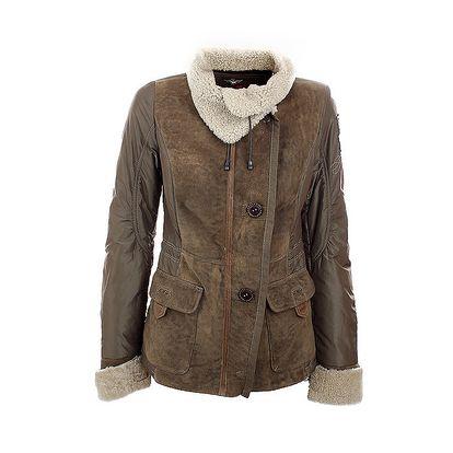Dámská hnědá kožená bunda s kožešinovými detaily Aeronautica Militare