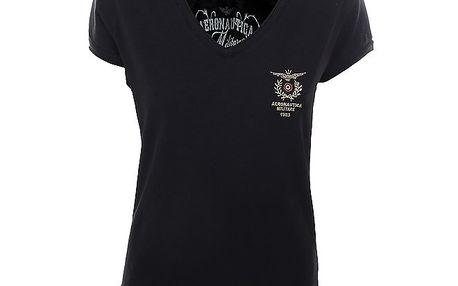 Dámské černé tričko s výstřihem do V Aeronautica Militare