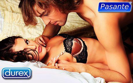 Balíček kondomů značky Pasante a Durex