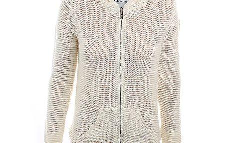 Dámský krémový pletený svetr na zip Aeronautica Militare