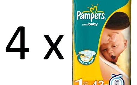 Pampers New Baby 1 Newborn - 4 x 43 ks - plenky s proužky s balzámem z aloe