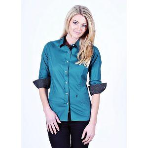 Dámská tyrkysová košile Pontto s tečkovanými manžetami