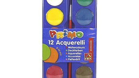 Barvy vodové Primo Barvy vodové 12x30mm, paleta, štětec, Primo
