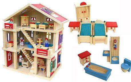 Velký dřevěný domek pro panenky s nábytkem
