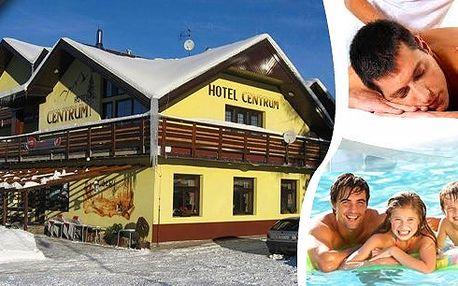 LAST MINUTE - regenerační wellness pobyt pro dva na 3 dny v luxusním Wellness hotelu Centrum. 4chodové večeře, lahev vína, wellness procedury, vstup do bazénu s protiproudem, whirpool a pravá finská sauna v centru horského střediska Harrachov!!!