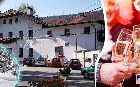Silvestr a Nový rok 2014 v pohádkové scenérii Národního parku Šumava s gastronomickým zážitkem v podobě Silvestrovské večeře a lahve pravého francouzského šampaňského v apelaci Premier cru v penzionu Klášterský mlýn pro 2 osoby na 4 dny.