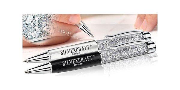 Luxusní pero s krystaly Swarovski Elements - bílé