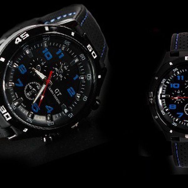 LUXUSNÉ hodinky SINOBI GT vyrobené z kvalitného silikónového prešívaného športového pásku s luxusným ciferníkom!