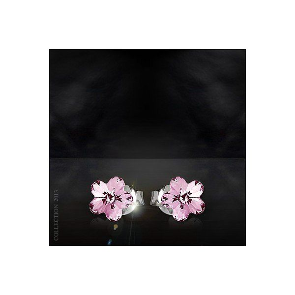 Flower náušnice jako kvítek - růžové z .925 stříbra