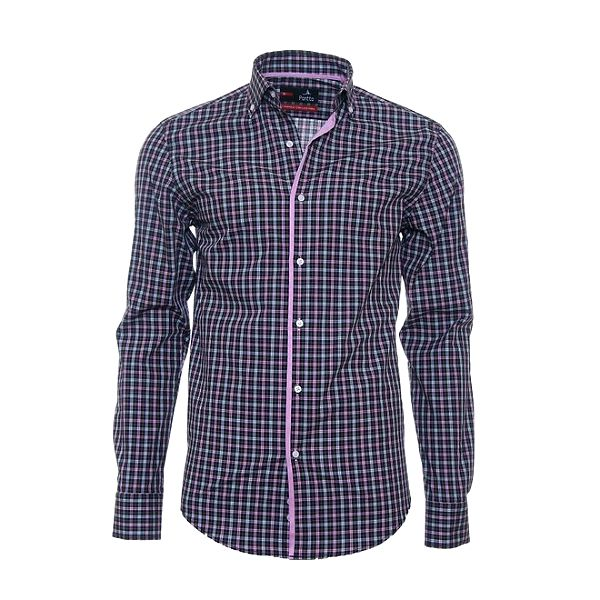 Pánská kostkovaná košile Pontto s růžovým lemem
