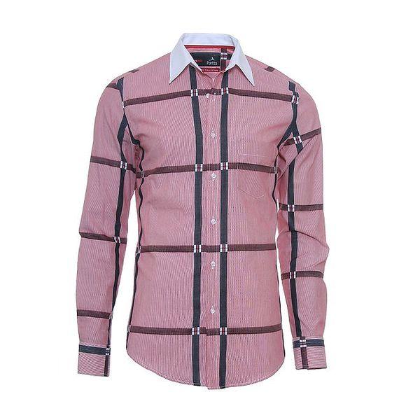 Pánská růžová košile s originálními detaily Pontto