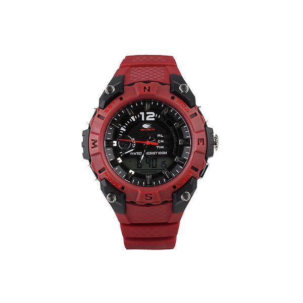 Vínovo-černé analogovo-digitální hodinky No Limits