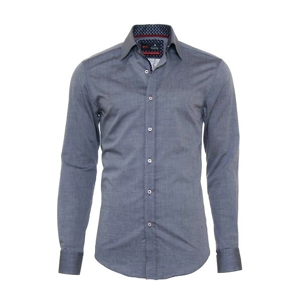 Pánská šedá košile Pontto s kytičkovanými detaily