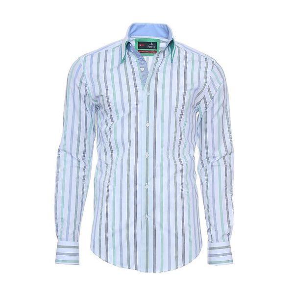 Pánská bílá košile Pontto s proužky a zelenými akcenty
