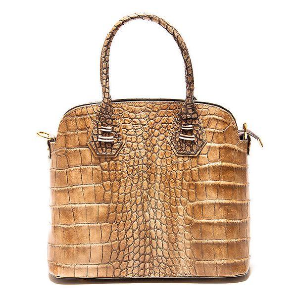 Dámská béžová kabelka Roberta Minelli s motivem hadí kůže