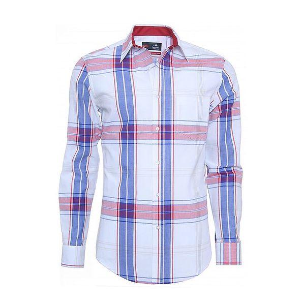 Pánská bílá košile s červeno-modrým detailem Pontto