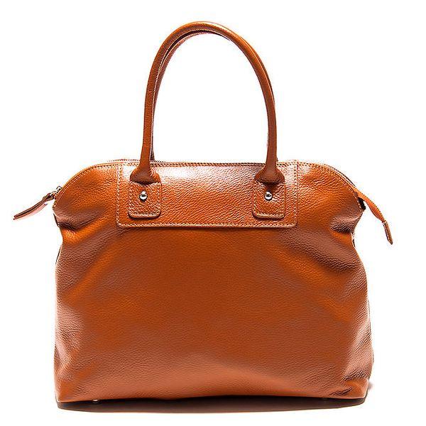 Dámská koňaková kožená kabelka Roberta Minelli se stříbrným zipem