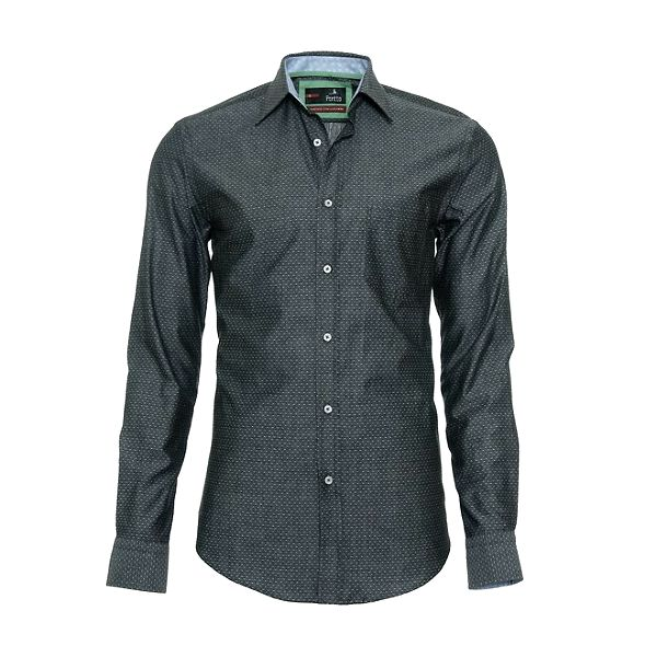 Pánská antracitově šedá košile s jemným vzorkem Pontto