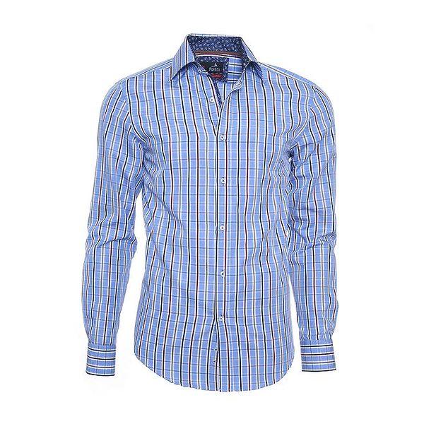 Pánská modrá kostkovaná košile Pontto s barevnými proužky
