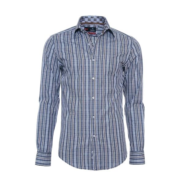 Pánská kostkovaná košile Pontto s hnědými akcenty