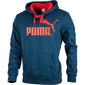 Pánská mikina puma logo hooded sweat fleece modrá/červená