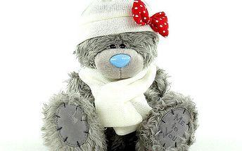 Me to You Medvídek 22cm bílá čepice a šála winter
