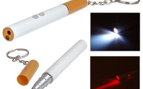 Kuličkové pero ve tvaru cigarety s LED svítilnou a laserovým ukazovátkem a poštovné ZDARMA! - 33106000