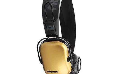 Designová zlato-černá sluchátka Frends