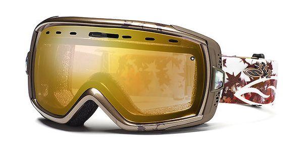 Barevné lyžařské brýle Smith se zlatě zabarvenými sklíčky