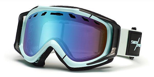 Modro-bílé lyžařské brýle Smith s modrými duhovými sklíčky