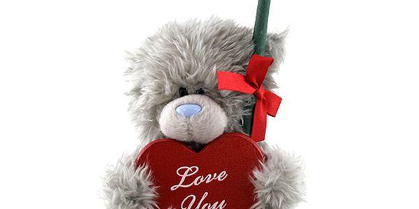 Medvídek Me to You Medvídek 12cm srdce a růže