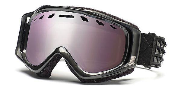 Lesklé černé lyžařské brýle s fialovo-šedými skly Smith