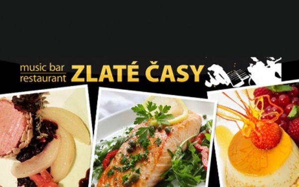 Luxusní 4chodové DEGUSTAČNÍ MENU PRO DVA za 485 Kč ve stylové restauraci Zlaté časy v centru Prahy! Kachní paštika, rukolový salát s bylinkami, steak z norského lososa, zeleninové hranolky, Crème brûlée a sleva na vína! Sleva 48%!