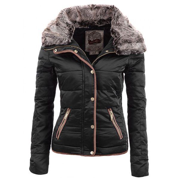 Dámská bunda Urban Surface černá s kožíškem