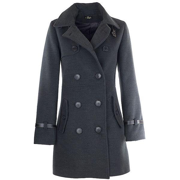 Dámský tmavě šedý kabát s přezkou Le Vertige