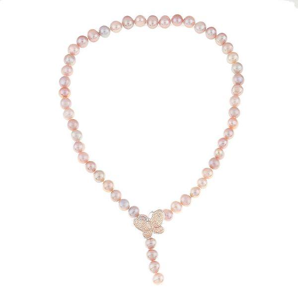 Dámský růžový perlový náhrdelník s motýlkem Orchira