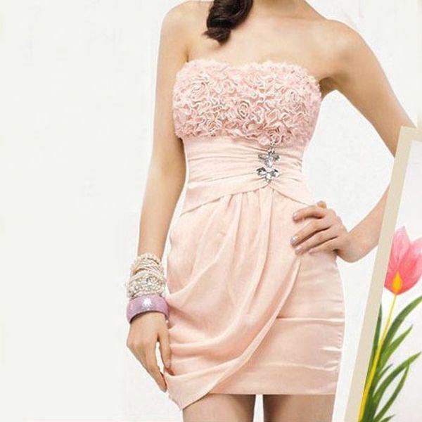 Růžové společenské šaty s nabíraným dekoltem a poštovné ZDARMA! - 33405993
