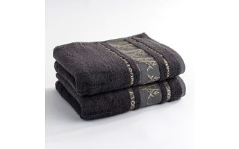 Ariatex ručník Bamboo life šedá, 50 x 90 cm, sada 2 ks