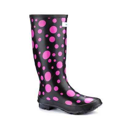 Dámské černé holínky Splash by Wedge Welly s růžovými puntíky
