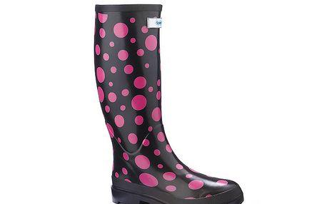 Dámské černé úzké holínky Splash by Wedge Welly s růžovými puntíky