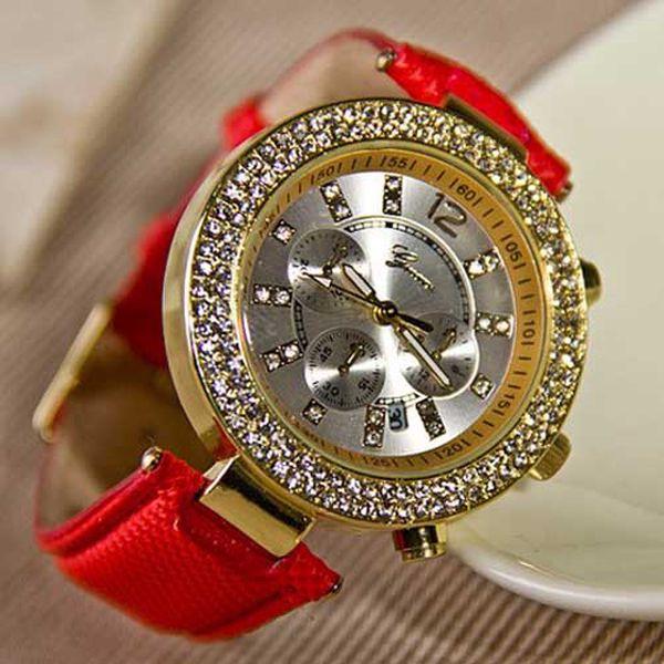 Barevné hodinky Geneva s kamínky a poštovné ZDARMA! - 33106007