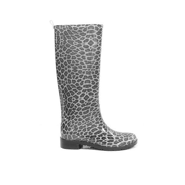Dámské černé vysoké holínky Favolla s leopardím vzorem
