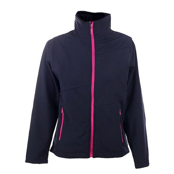Dámská tmavě modrá bunda Authority s růžovým zipem