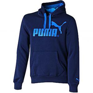 Pánská mikina - Puma LOGO HOODED SWEAT FLEECE modrá/modrá na volný čas a každodenní nošení