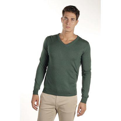 Pánský smaragdově zelený svetr Armata di Mare s kašmírem