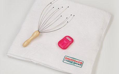 Relax sada Ordinace - ručník, mýdlové lístky, masážní pomůcka