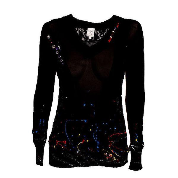 Dámský transparentní černý pulovr s barevnými cákanci Dislay