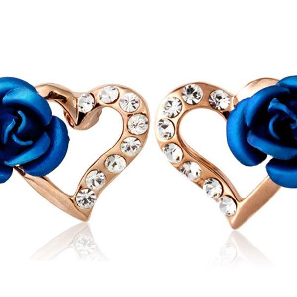 Náušnice s modrou kytičkou a poštovné ZDARMA! - 34906070