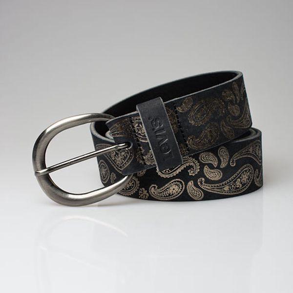 Černý dámský pásek se stříbrným vzorem Ruth