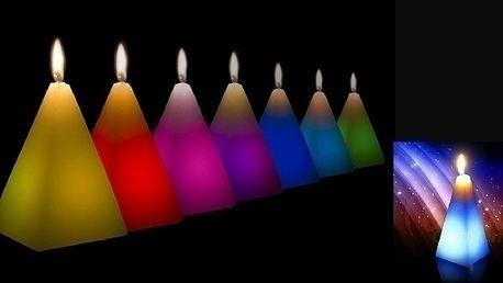 Magická svíčka ve tvaru pyramidy měnící barvy - su...